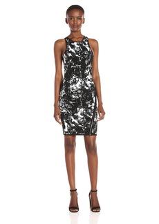 Guess Women's Sleeveless Jacquard Zip Dress  L