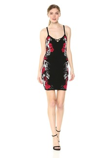 GUESS Women's Sleeveless Jamie Floral Jacquard Dress  L