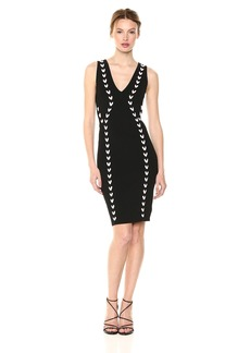 GUESS Women's Sleeveless Jana Contrast Lace up Dress  XL