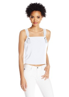 GUESS Women's Sleeveless Kendall Knotted Shell True White A L