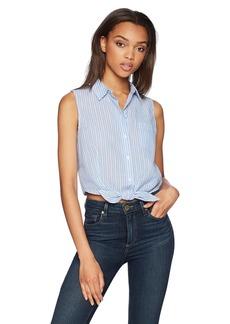 GUESS Women's Sleeveless Leighton Yarn Dye Shirt  XS