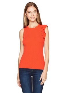Guess Women's Sleeveless Llana Embellished Ruffle Sweater