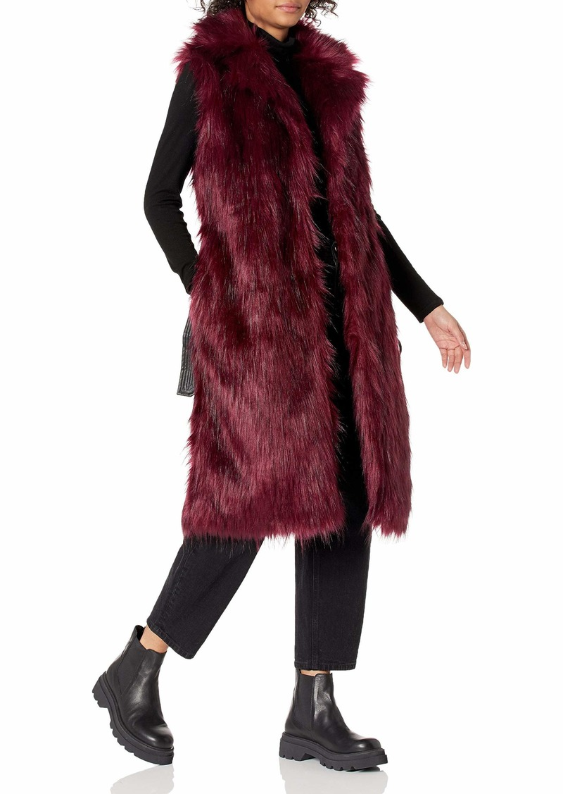 GUESS Women's Sleeveless Lushious Fur Vest with Faux Leather Belt