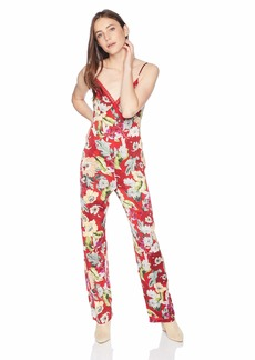 GUESS Women's Sleeveless Lux Jumpsuit Garden Fever Print Sultry red