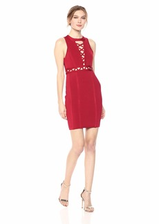 GUESS Women's Sleeveless Mirage Crossed Lacing Dress Crimson red M