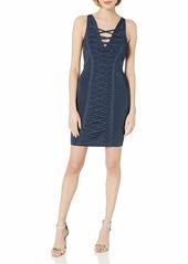 GUESS Women's Sleeveless Mirage Deep V Lace Up  XL