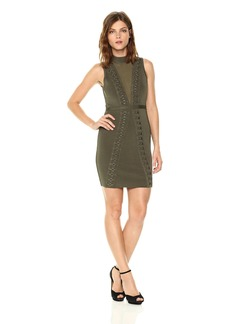 GUESS Women's Sleeveless Mirage Mesh Front Ring Dress  M