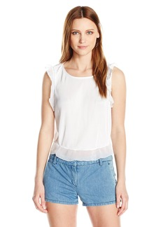GUESS Women's Sleeveless Naples Ruffle Top True White A XS
