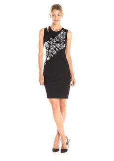 GUESS Women's Sleeveless Nicola Floral Embroidered Dress  a XS