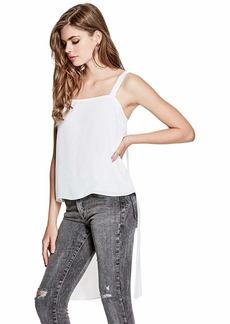 GUESS Women's Sleeveless Nina Open Back Top True White A A XL