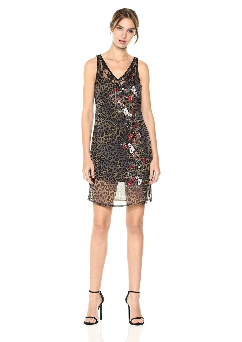 GUESS Women's Sleeveless Odessa Slip Dress Leo camo Olive
