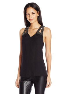 GUESS Women's Sleeveless Orielle Emb Cut Out Top Jet Black A