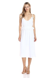 GUESS Women's Sleeveless Orlando Ruffle Dress True White A S