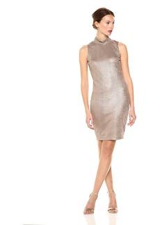 Guess Women's Sleeveless Perry Rib Gold Metalic Dress  M