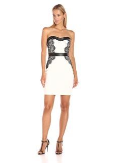 GUESS Women's Sleeveless Scuba Dress with Lace
