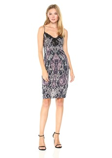 GUESS Women's Sleeveless Serena Lace Satin Slip Dress Tempest Navy