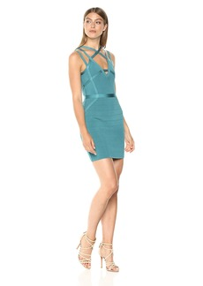 Guess Women's Sleeveless Strappy Mirage Dress Dress -turquoise sea multi M