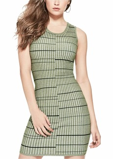 GUESS Women's Sleeveless Wren Plaited Stripe Dress  L