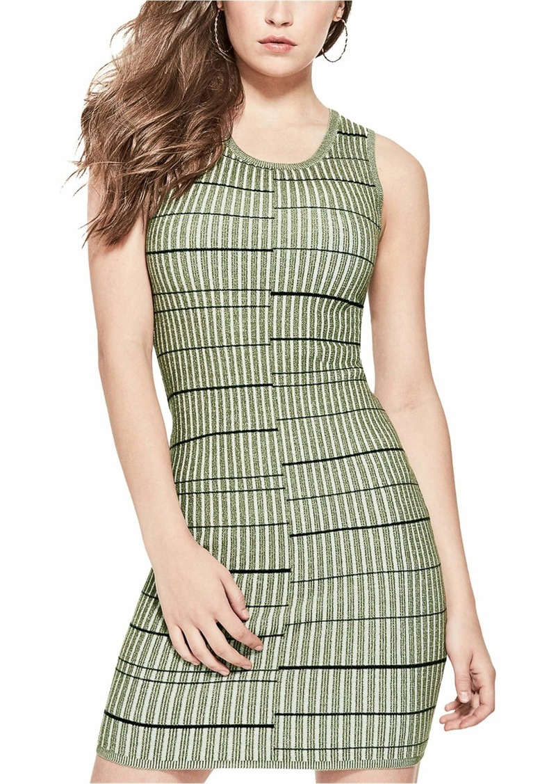 GUESS Women's Sleeveless Wren Plaited Stripe Dress  L
