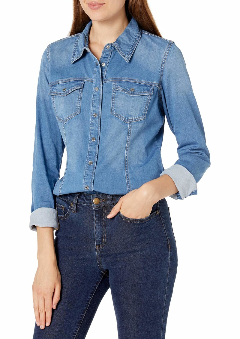 GUESS Women's Long Sleeve Slim Fit Denim Snap Shirt  Extra Small