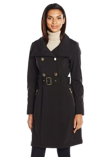 GUESS Women's Soft Shell Double Brested Belted Trench black M