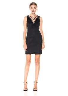 GUESS Women's Solid Bodycon Dress with Strap Detail