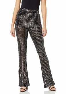 GUESS Women's Star Sequin Skinny Fit Flare Leg Pant