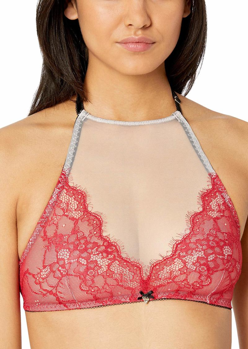 GUESS Women's Sweet Lace Halter Neck Bralette Rockgirl red