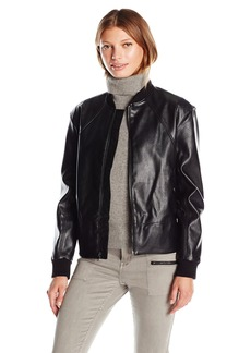 Guess Women's Tavia Stretch Faux Leather Bomber Jacket  L