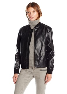 Guess Women's Tavia Stretch Faux Leather Bomber Jacket  S