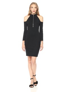 GUESS Women's Three Quarter Sleeve ASA Zip Dress Jet Black-JBLK