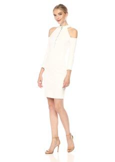GUESS Women's Three Quarter Sleeve Asa Zip Dress White alyssum