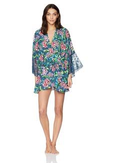 GUESS Women's Three Quarter Sleeve Floral Kimono  M