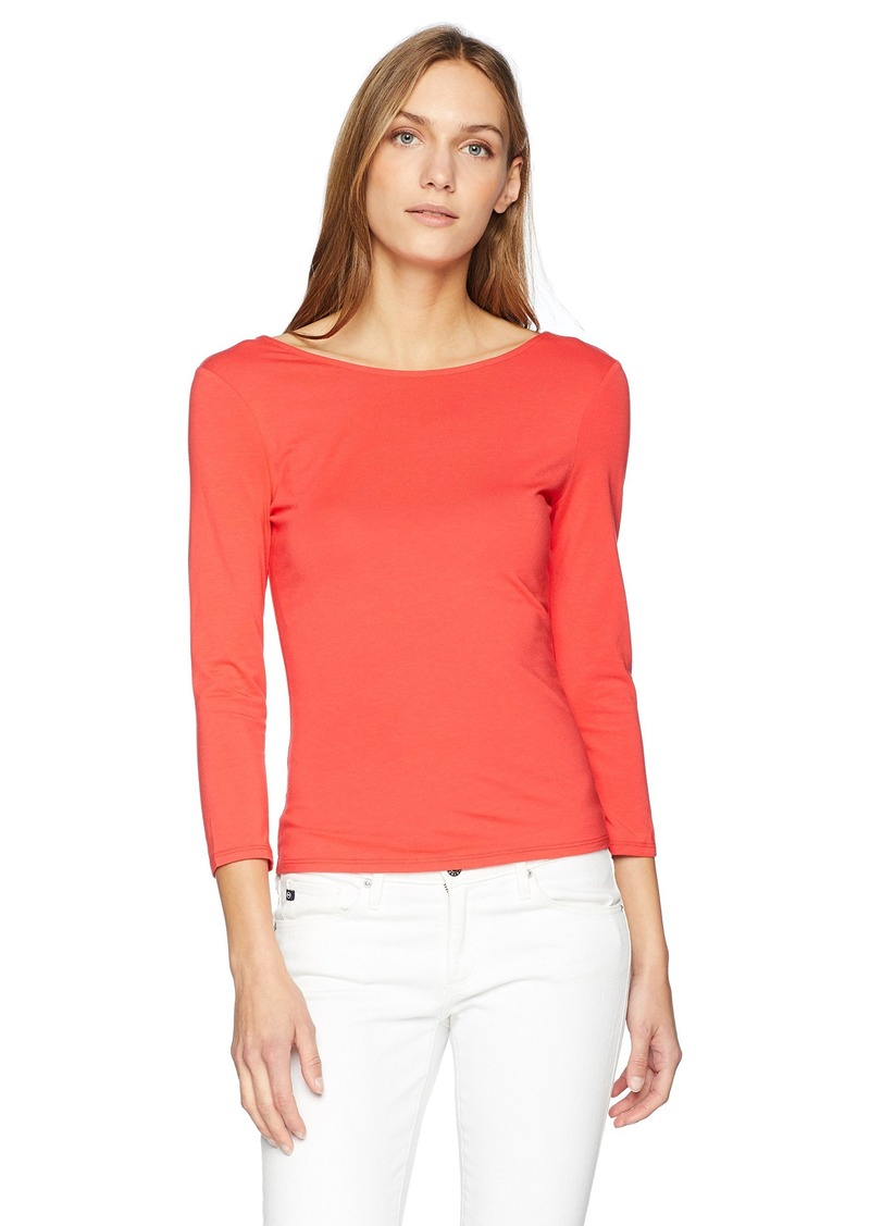 GUESS Women's Three Quarter Sleeve Gillian Lace Up Back Top red Lava L