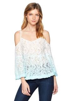 Guess Women's Three Quarter Sleeve Nissi Ombre Top Shirt -aqua paradise multi L