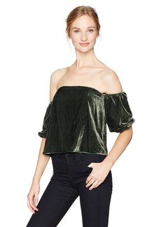 GUESS Women's Three Quarter Sleeve Off Shoulder Danica Top deep Forest