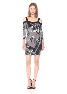 GUESS Women's Three Quarter Sleeve Off The Shoulder Juliet Dress Magic Floral Jet Black S