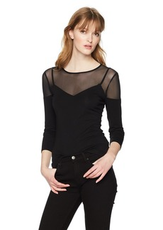 GUESS Women's Three Quarter Sleeve Phoebe Mesh Inset Top  M
