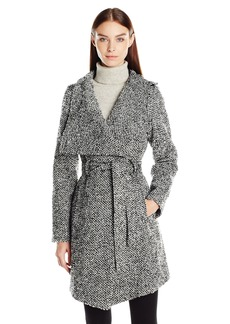 GUESS Women's Tweed Wool Water Resistant Wrap Coat black/White XL