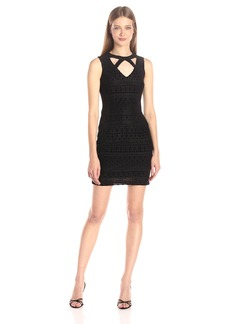 GUESS Women's Velvet Burnout Dress with Neck Detail