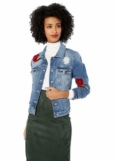 Guess Women's Velvet Rose Sexy Trucker Jacket Waverly wash M