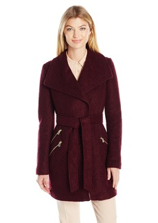 GUESS Women's Wool Boucle Coat with Oversized Color and Belt  M