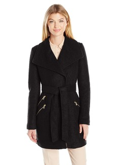GUESS Women's Wool Boucle Coat with Oversized Color and Belt black S