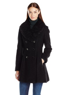 GUESS Women's Wool Boucle Fit and Flare Coat with Faux Fur Collar black XL