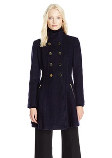 GUESS Women's Wool Boucle Military Flared Coat  L