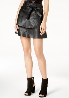 Guess Wynn Tiered Faux-Leather Skirt
