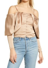 GUESS Yessica Cold Shoulder Long Sleeve Blouse