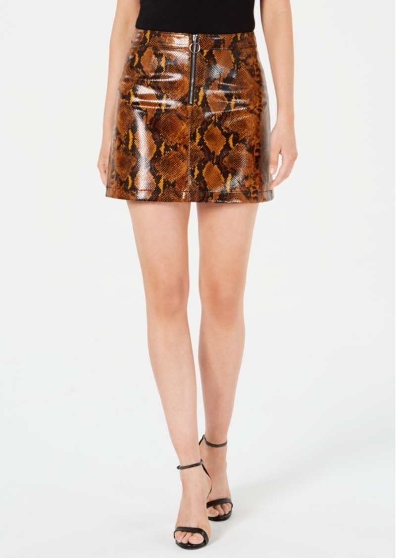Guess Yolanda Snake-Print Faux-Leather Mini Skirt