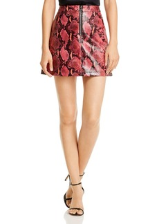 GUESS Yolanda Snake Print Faux Leather Skirt