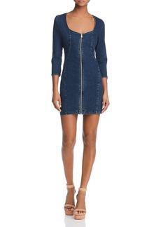 GUESS Zip-Front Body-Con Denim Dress